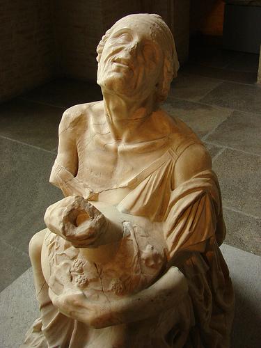 Drunken old Roman woman