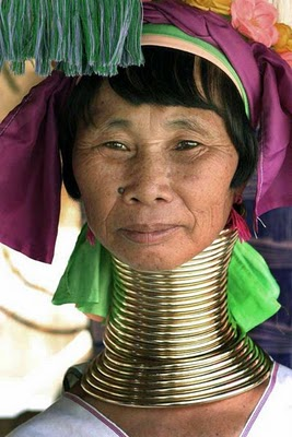 Kayan older woman with neck rings