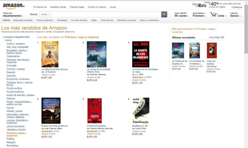 #1 in Kindle in Spain - Thrillers and Mysteries