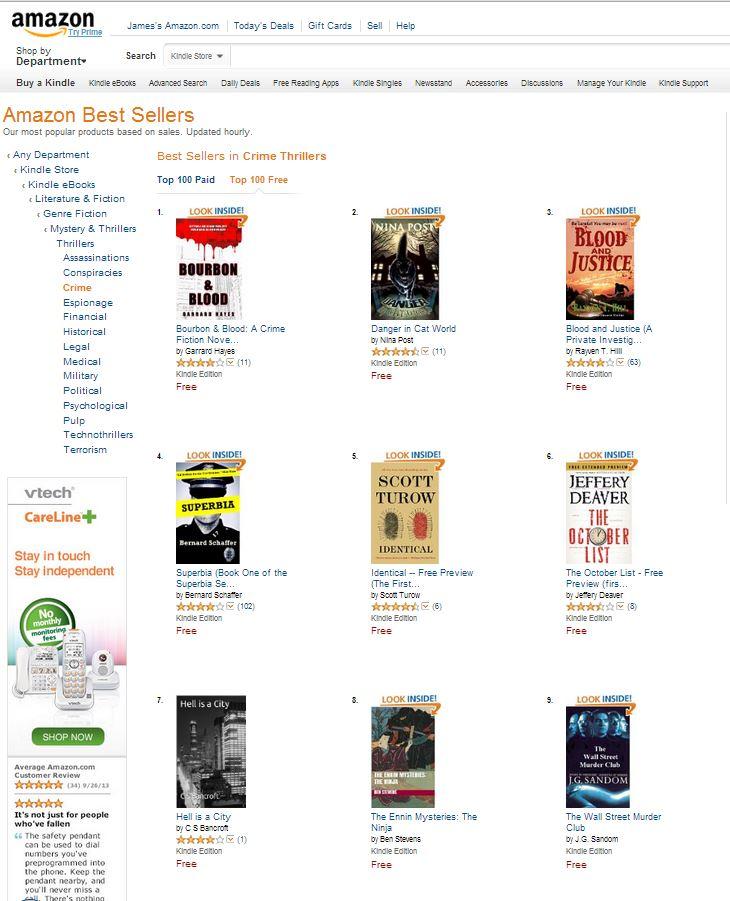 Top Ten Free Kindle Crime Books
