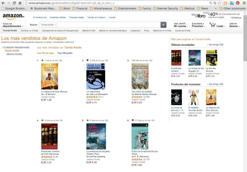 #1 in Kindle in Spain - ALL books