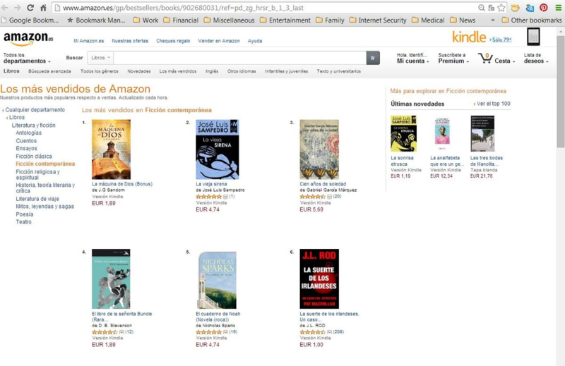 #1 in Kindle in Spain - Contemporary Fiction