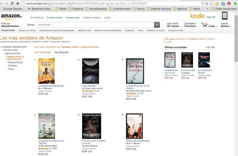 #1 in Kindle in Spain - Sci Fi, Fantasy & Horror