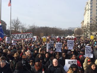 Close shot of crowd - justice for all