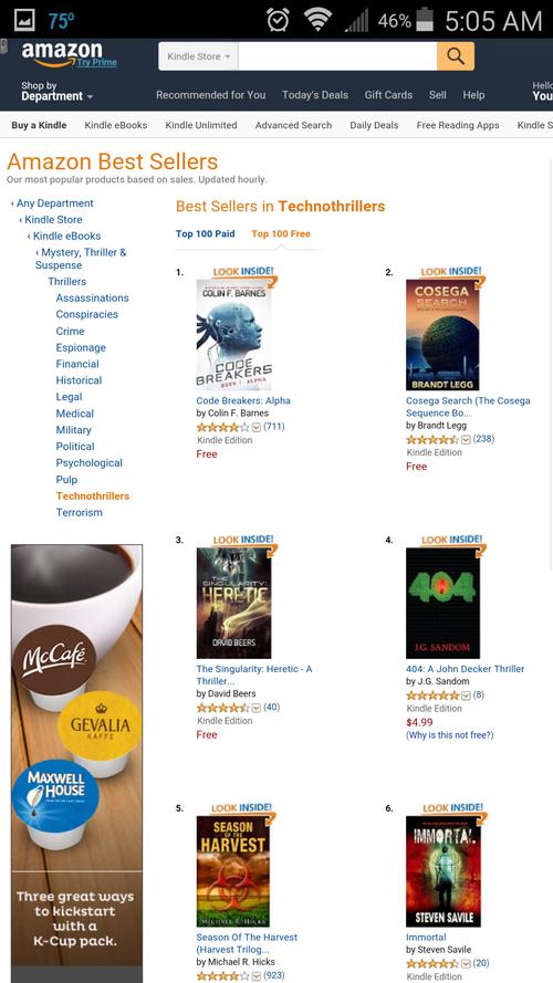 Amazon USA Technothriller ranking ~ 404