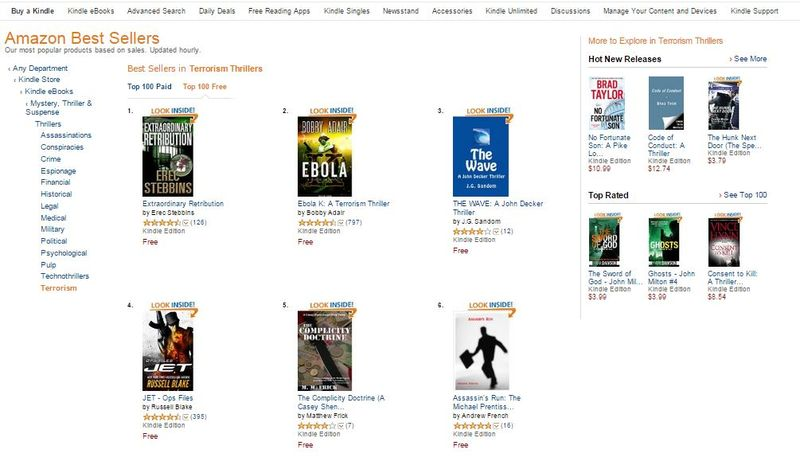 The Wave @ No 3 on Kindle Top Seller List - Terrorism Thrillers