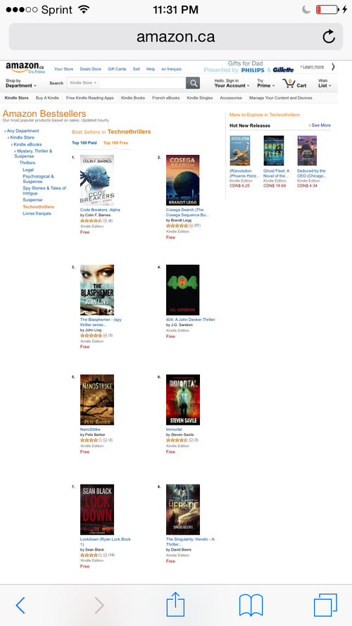 Amazon Canada Technothriller ranking ~ 404