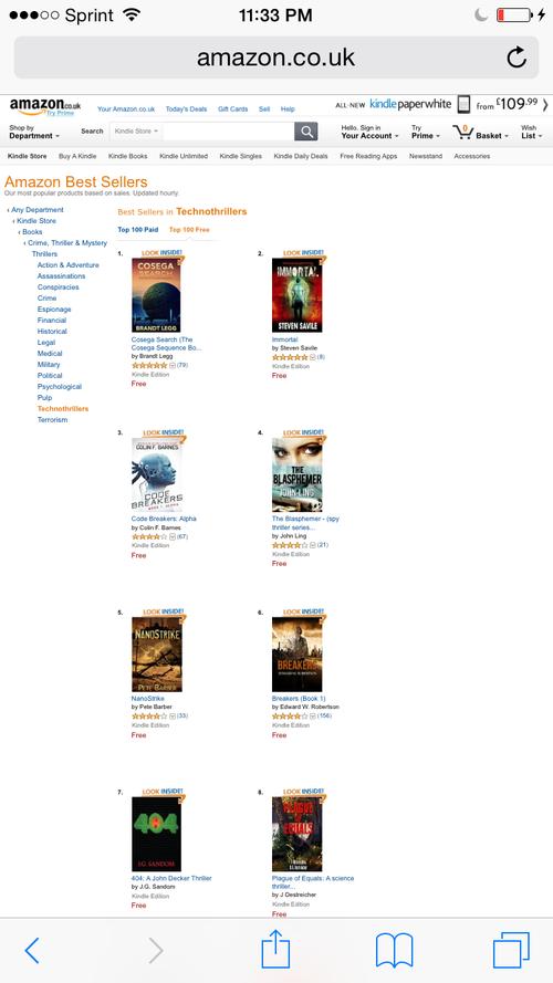 Amazon UK Technothriller ranking ~ 404