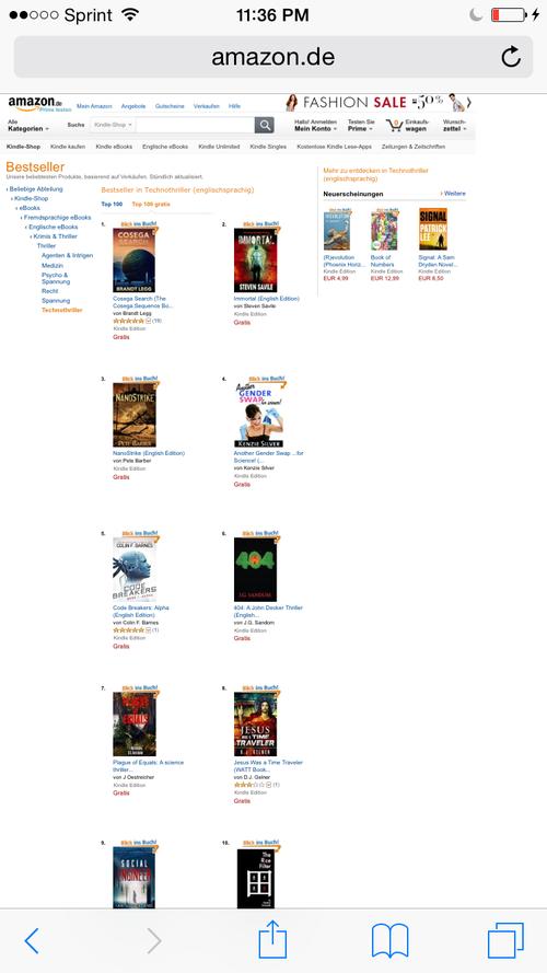 Amazon Germany Technothriller ranking ~ 404
